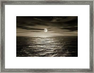 Full Moon Over An Ocean Framed Print by Detlev Van Ravenswaay