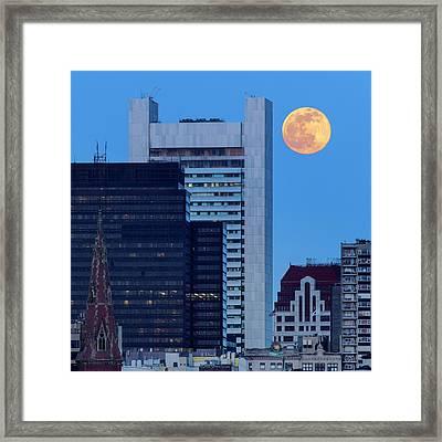 Full Moon Over Boston Framed Print