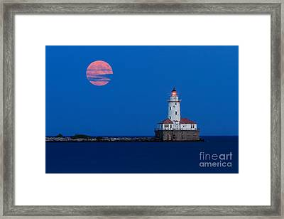 Full Moon Over Chicago Harbor Lighthouse Framed Print by Katherine Gendreau