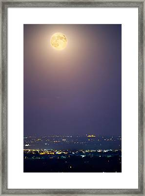 Full Moon Over City Lights Framed Print by James BO  Insogna