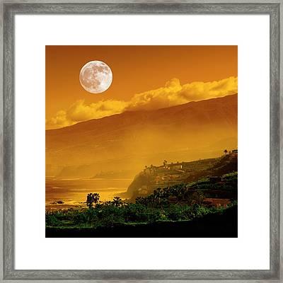 Full Moon Over Coast Framed Print by Detlev Van Ravenswaay