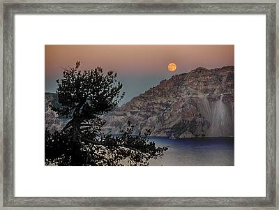 Full Moon Over Crater Lake Framed Print