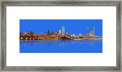 Full Moon Over Dallas Reflected Framed Print