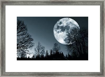 Full Moon Over Dark Forest Framed Print