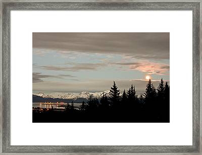 Full Moon Over Homer Alaska Framed Print
