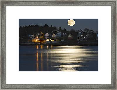 Full Moon Over Kennebec River Georgetown Island Maine Framed Print