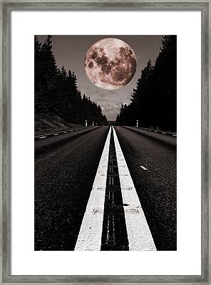 Full Moon Over Lonely Country Road Framed Print