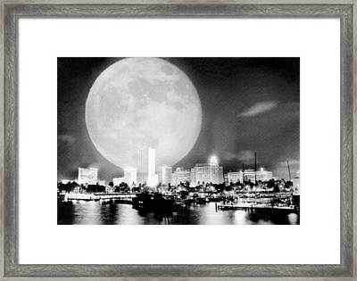 Full Moon Over Miami Framed Print by Charles Trainor