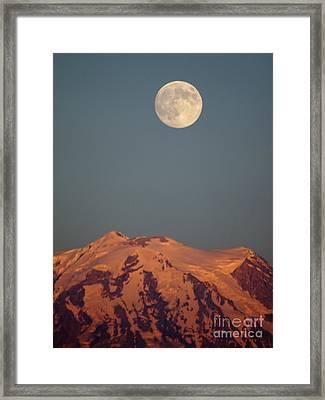 Full Moon Over Mount Rainier Framed Print