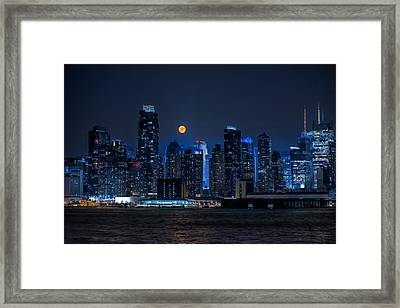 Full Moon Over New York City Framed Print