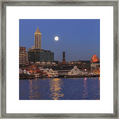 Full Moon Over Pioneer Square Framed Print by Scott Campbell