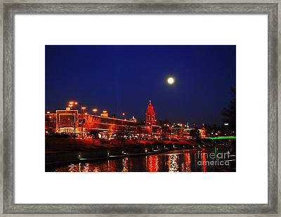 Full Moon Over Plaza Lights In Kansas City Framed Print by Catherine Sherman