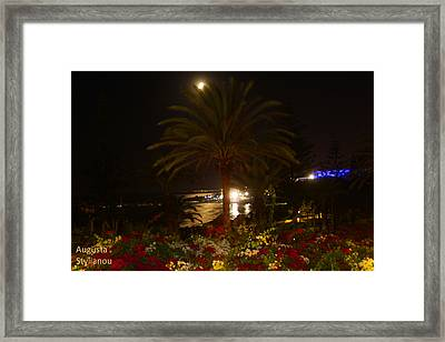 Full Moon Over The Sea Framed Print by Augusta Stylianou