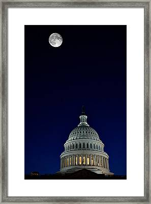 Full Moon Over Us Capitol Framed Print by Lawrence Boothby