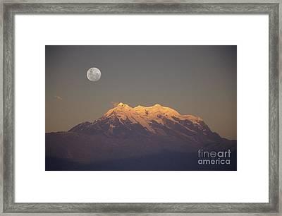 Full Moon Rise Over Mt Illimani Framed Print by James Brunker
