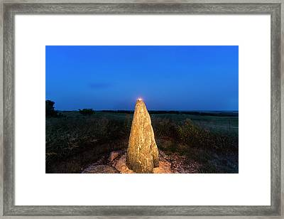 Full Moon Rises Over Standing Rock Framed Print by Chuck Haney