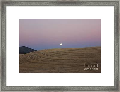 Full Moon Rising At Sunset Framed Print