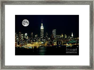 Full Moon Rising - New York City Framed Print