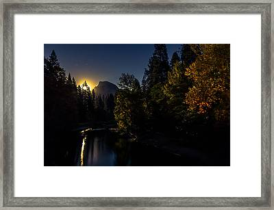 Full Moon Rising Over Half Dome Framed Print by Scott McGuire