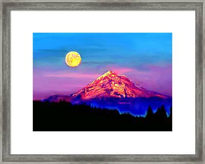 Full Moon Rising Over Mount Hood Oregon Framed Print