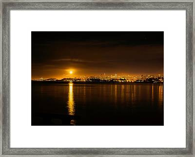 Framed Print featuring the photograph Full Moon Rising Over San Francisco by Steven Reed