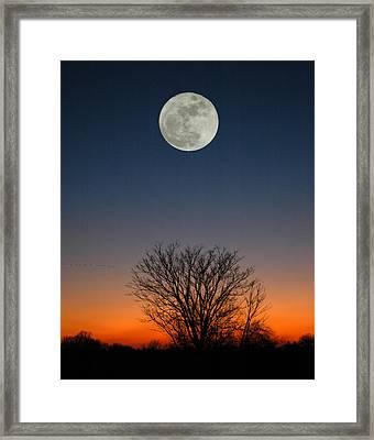 Full Moon Rising Framed Print by Raymond Salani III
