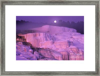 Full Moon Sets Over Minerva Springs On A Winter Morning Yellowstone National Park Framed Print