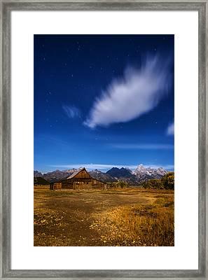 Full Moonlit Mormon Barn At Grand Teton Np Framed Print by Vishwanath Bhat