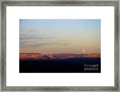 Framed Print featuring the photograph Full Moonrise Over Red Rocks Of Sedona by Ron Chilston