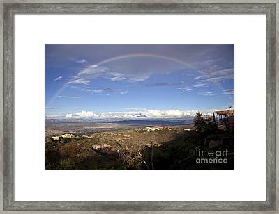 Full Rainbow Over Jerome Framed Print