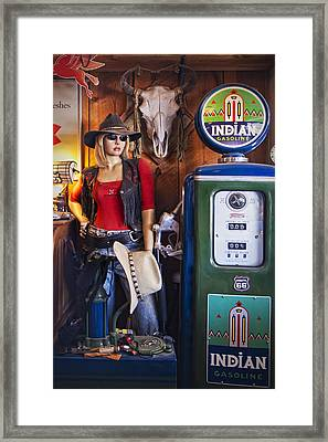 Full Service Route 66 Gas Station Framed Print by Priscilla Burgers