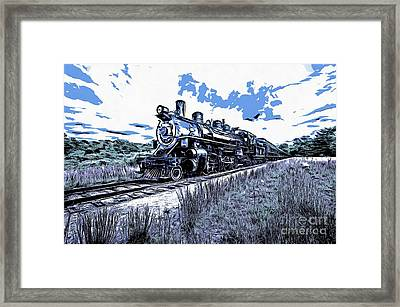Full Steam Through The Meadow Graphic Framed Print by Edward Fielding