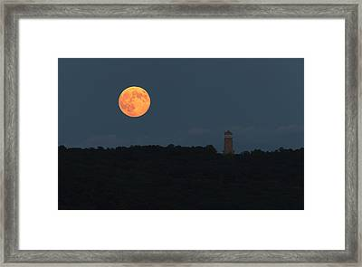 Full Sturgeon Moon Rising Over Quabbin Hill Framed Print by Stephen Gingold