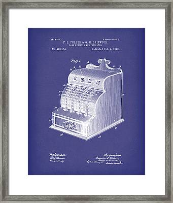 Fuller And Griswold Cash Register 1890 Patent Art Blue Framed Print