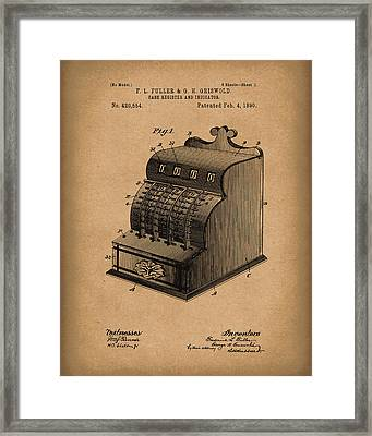 Fuller And Griswold Cash Register 1890 Patent Art Brown Framed Print