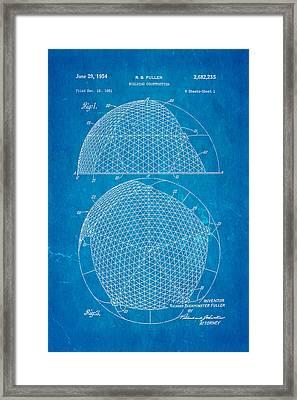 Fuller Geodesic Dome Patent Art 1954 Blueprint Framed Print by Ian Monk