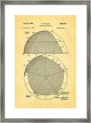 Fuller Geodesic Dome Patent Art 1954  Framed Print