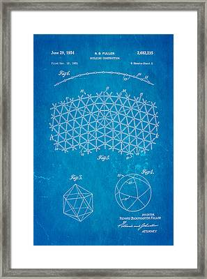 Fuller Geodesic Dome Patent Art 2 1954 Blueprint Framed Print by Ian Monk