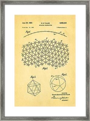 Fuller Geodesic Dome Patent Art 2 1954  Framed Print