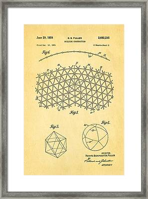 Fuller Geodesic Dome Patent Art 2 1954  Framed Print by Ian Monk
