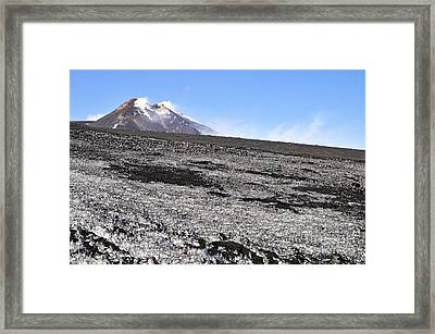 Fumarole And Snow Field On Mount Etna Framed Print by Sami Sarkis