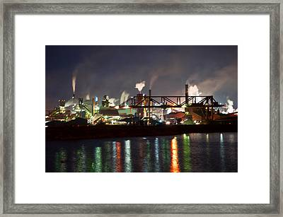 Fumes From Steel Mill In Hamilton Harbour Framed Print by Marek Poplawski