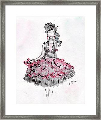 Red And Black Party Dress Sketch Framed Print by Janelle Nichol