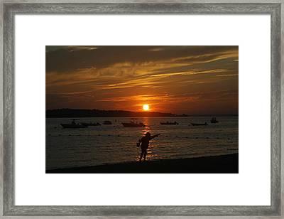 Fun At Sunset Framed Print