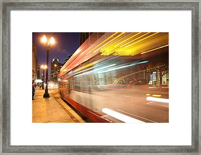 Fun At The Bus Stop Framed Print