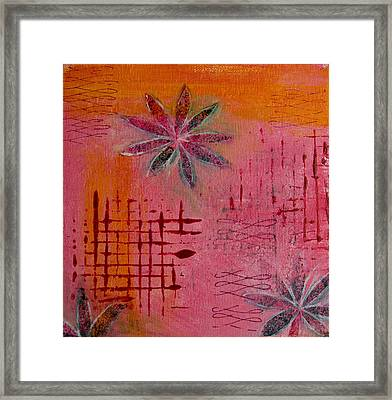 Framed Print featuring the painting Fun Flowers In Pink And Orange 1 by Jocelyn Friis