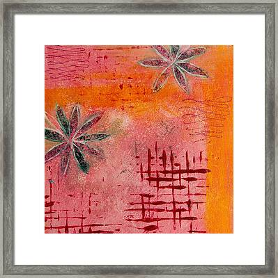 Framed Print featuring the painting Fun Flowers In Pink And Orange 2 by Jocelyn Friis