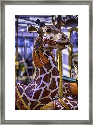Fun Giraffe Carousel Ride Framed Print by Garry Gay