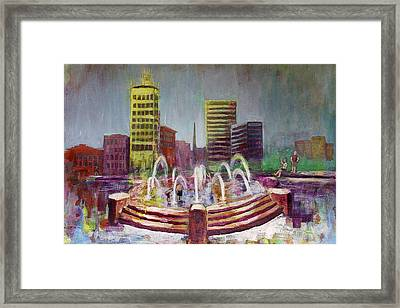 Fun In The Fountain In Asheville Framed Print
