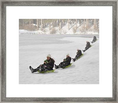 Fun In The Snow Framed Print by Susan Candelario